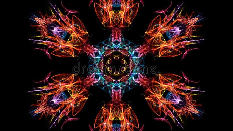 Abstraktion av symmetrisk rök för färg på en svart bakgrund royaltyfri fotografi