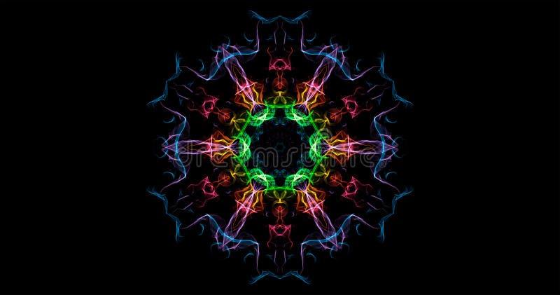 Abstraktion av symmetrisk rök för färg på en svart bakgrund arkivfoto