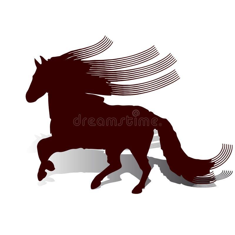 Abstraktion brun häst med lång krabb och lång man, körningar, på royaltyfri illustrationer