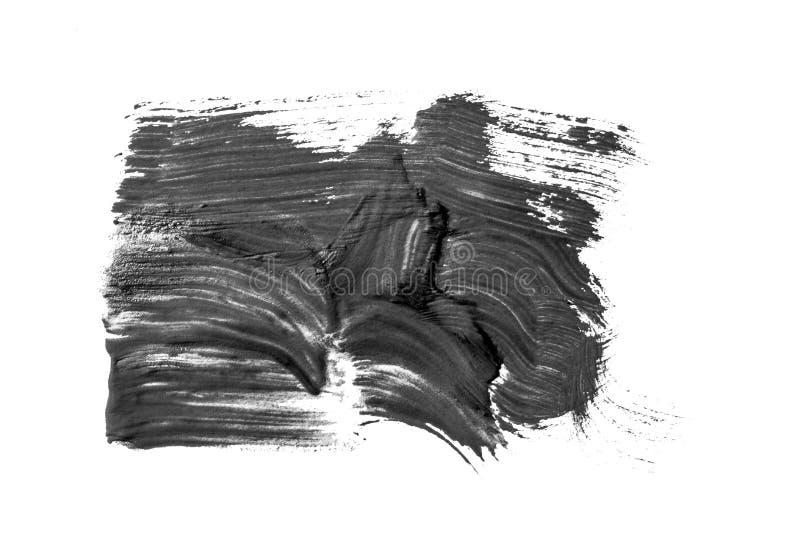 Abstraktion för en bakgrund som drar svart målarfärg på en vit isolerad bakgrund, den hela ramen stock illustrationer