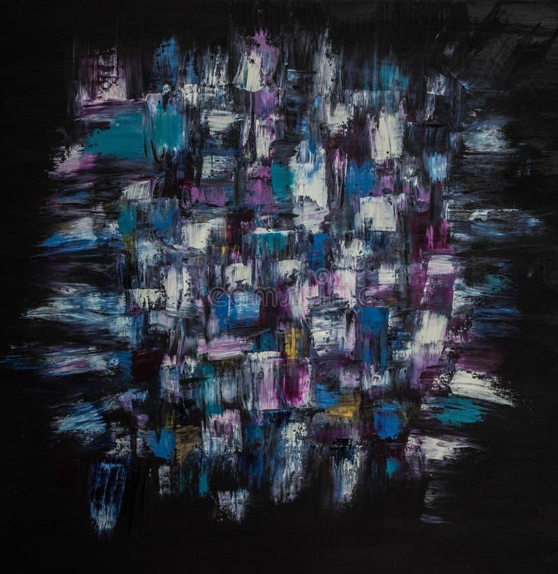 Abstraktion för oljamålning på en svart bakgrund Bakgrund textur royaltyfri illustrationer