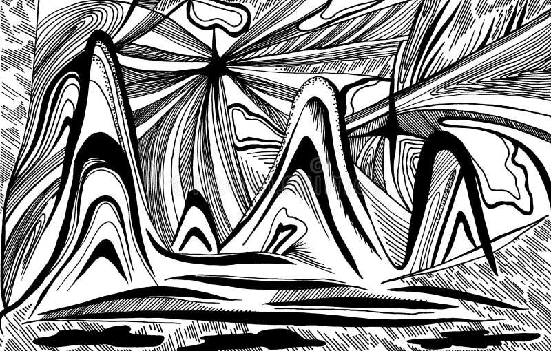 Abstraktionberg och vågor vektor illustrationer