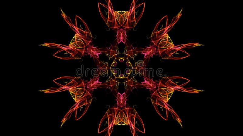 Abstraktionen av färglilor som är röd, rosa färg röker på en svart bakgrund arkivbild
