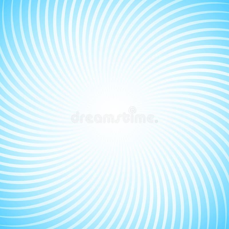 Abstraktnyyjachtergrond met veel witte stralen tegen de blauwe hemel Spiraalvormige motie van geometrische vormen royalty-vrije illustratie