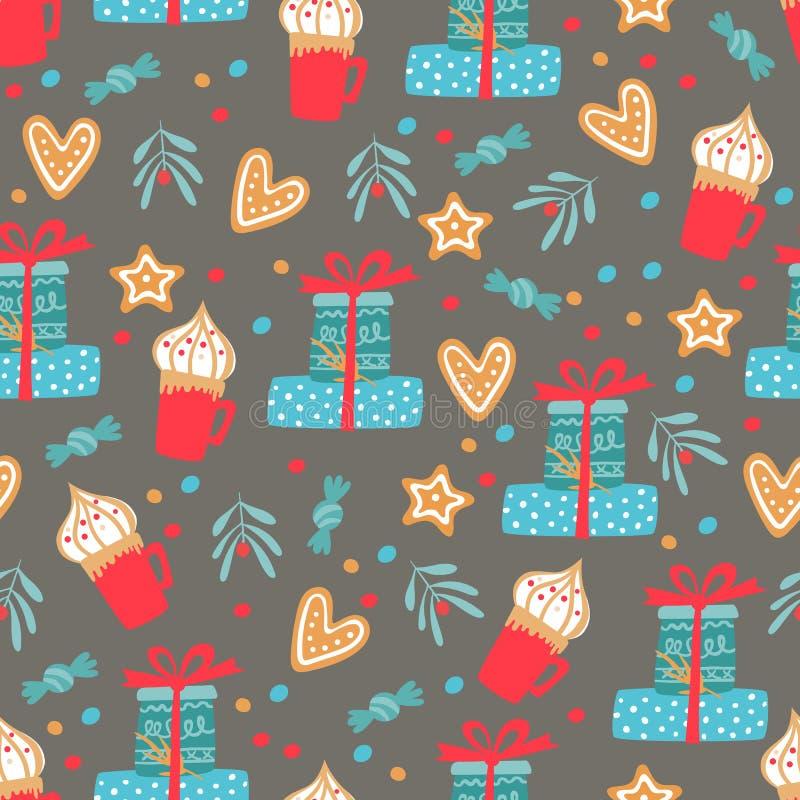 Abstrato fundo sem costura no inverno com itens de férias Enorme padrão com doces ilustração stock