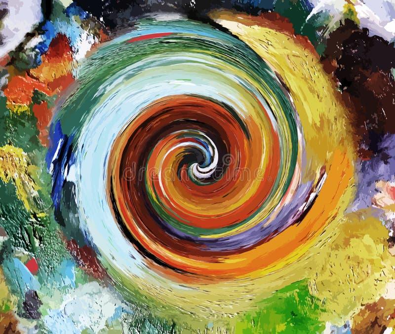 Abstrato-pinturas Pintura colorida do óleo Este menino gosta de esportes e de jogos ao ar livre ilustração royalty free
