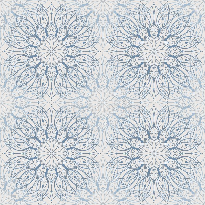 Abstratos sem emenda iluminam - o teste padrão azul da mandala, fundo floral ilustração do vetor