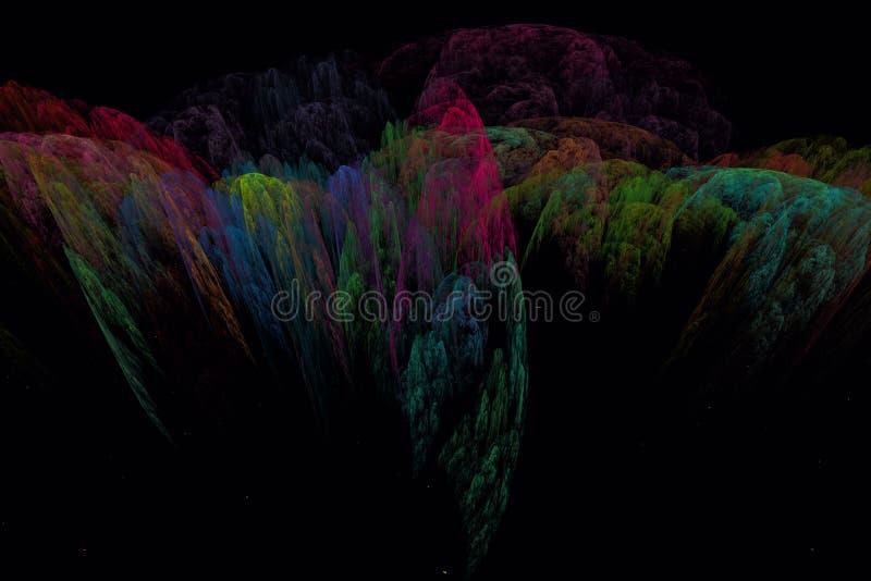 Abstrct Digital grafika Surrealistyczny nocy góry krajobraz ilustracja wektor