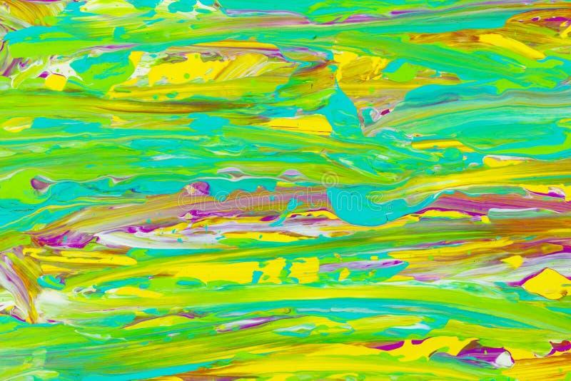 Abstrich färbt künstlerischen Kunsthintergrund der grün-blauen gelben Farbe vektor abbildung