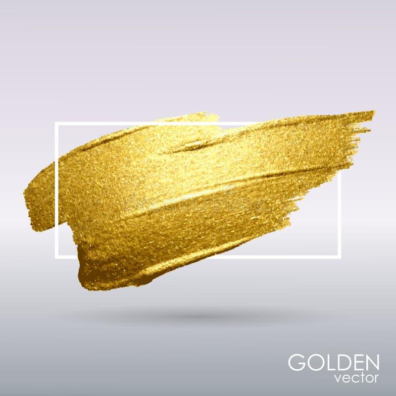 Abstrich mit einer künstlerischen Bürste Goldschmutzbeschaffenheit in einem Rahmen Goldener Pinselstrich vektor abbildung