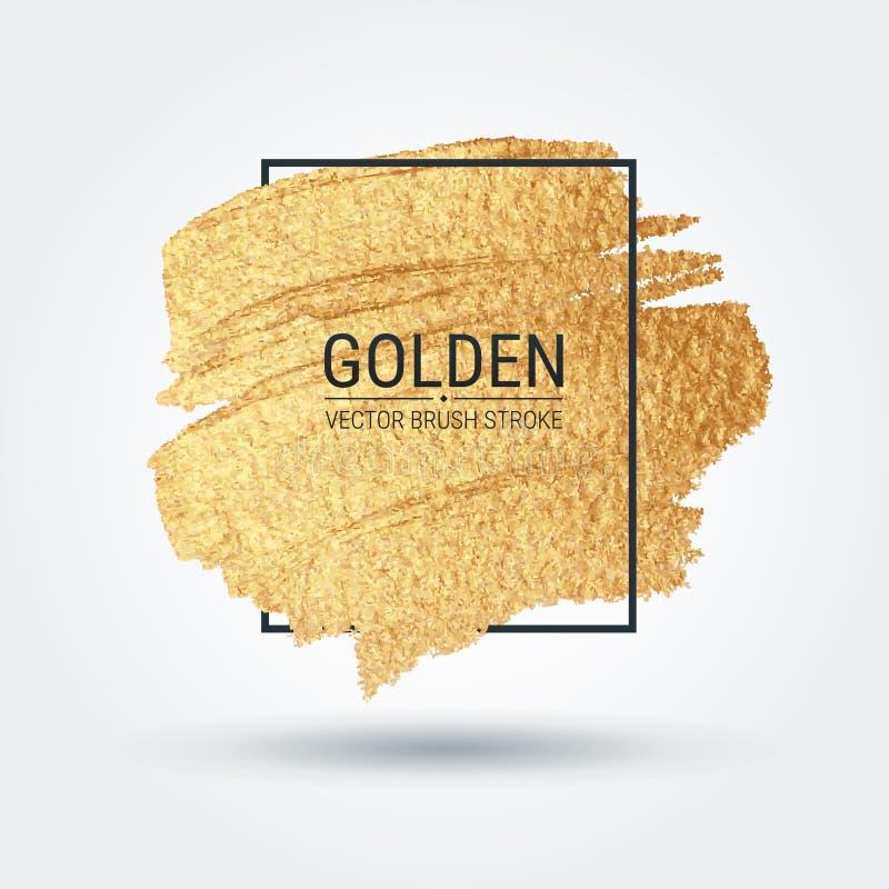 Abstriche mit einer künstlerischen Bürste Goldschmutzbeschaffenheit Glänzende glänzende Muster Proben werden in der Palette von B lizenzfreie abbildung
