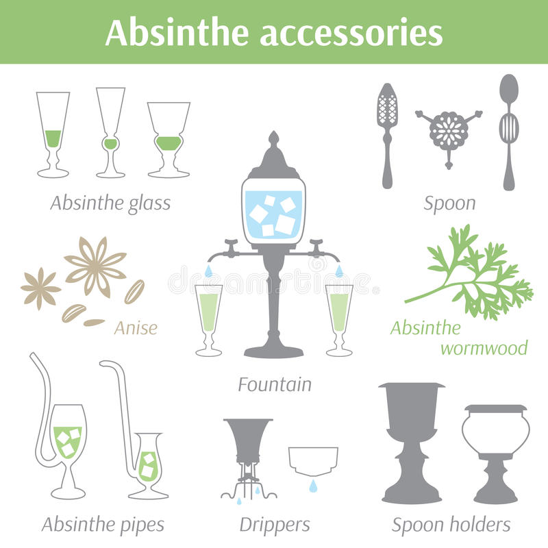 Absyntów akcesoriów wektorowe ilustracyjne ikony ustawiać royalty ilustracja