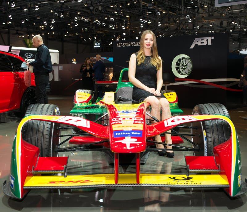 ABT Formula E Racing Car presented at the Geneva International Motor Show royalty free stock photos