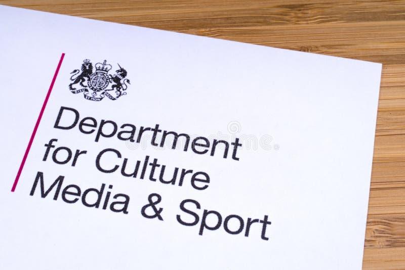 Abteilung für Kultur, Medien und Sport stockbilder
