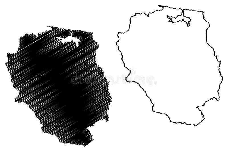 Abteilung Nord-Est Republik von Haiti, Hayti, Hispaniola, Abteilungen der Haiti-Kartenvektorillustration, Gekritzelskizze Nord-Es lizenzfreie abbildung