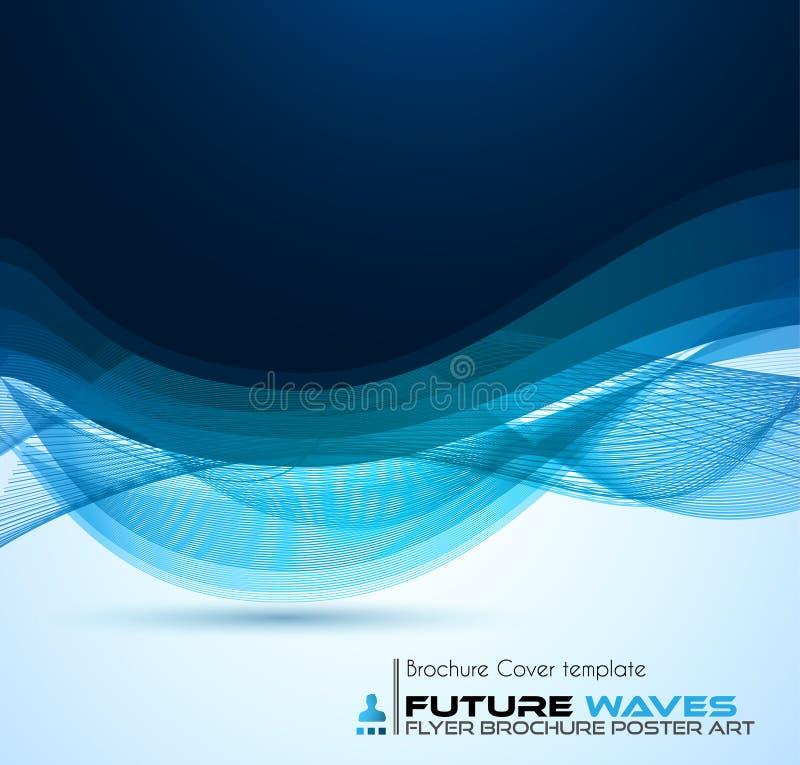 Abtract小册子的波浪背景和飞行物设计 向量例证