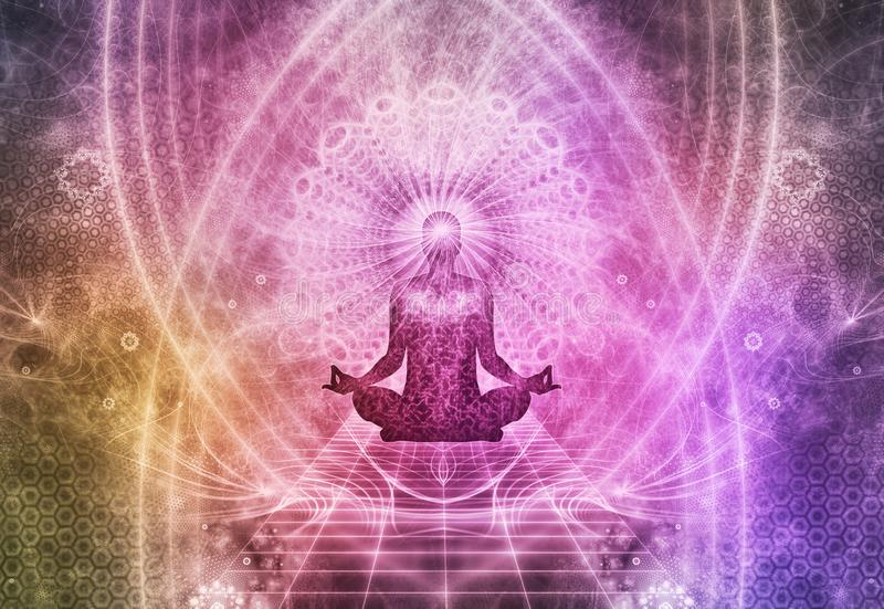 Meditation Abstract Spiritualism Yoga Concept stock illustration