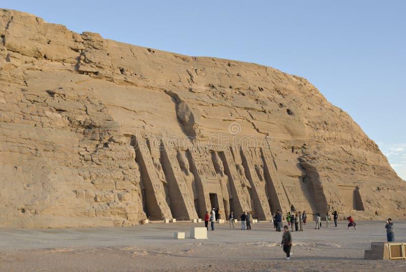abu埃及hathor nefertari simbel寺庙 免版税库存照片