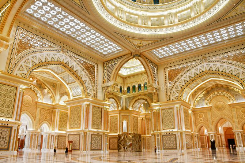 Abu Dhabi, Arabische Emirate, M?rz, 19, 2019 Pr?sidentenpalast, Palast von Qasr-Al-Watan der Palast der Nation innerhalb ich lizenzfreies stockfoto