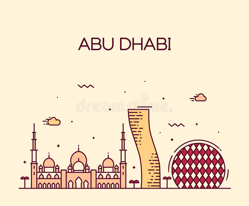 Abu Dhabi City-art. van de horizon het In vectorlijn royalty-vrije illustratie