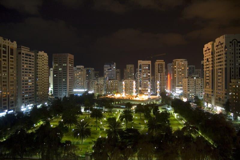 Abu dhabi city by night stock photos