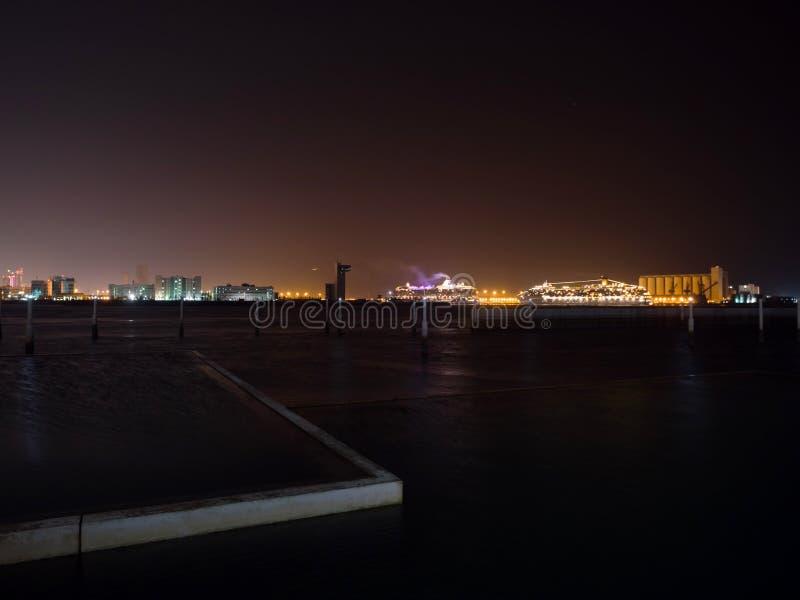 Abu Dhabi city at night royalty free stock photography