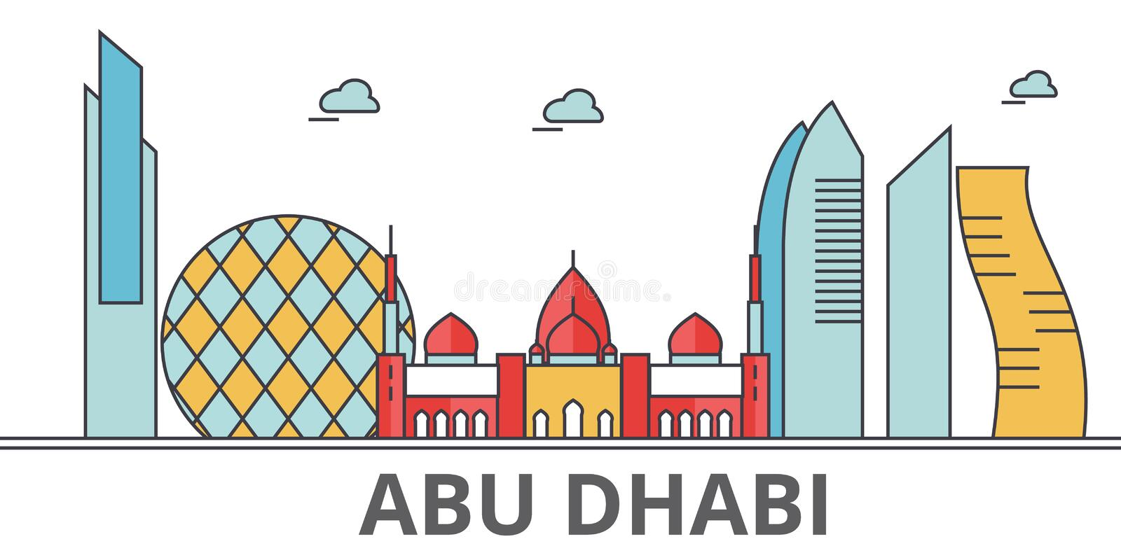 Abu Dhabi city skyline. Buildings, streets, silhouette, architecture, landscape, panorama, landmarks. Editable strokes. Flat design line vector illustration royalty free illustration