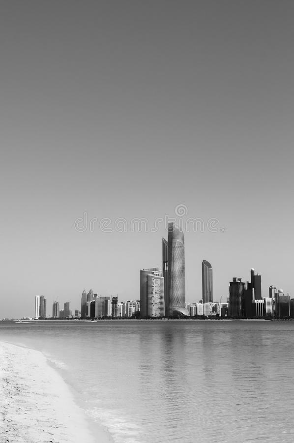 Abu Dhabi city skyline with sea view and beach royalty free stock photography