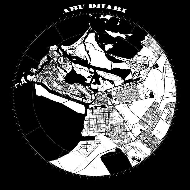 Abu Dhabi Compass Design Map Artprint stock illustrationer