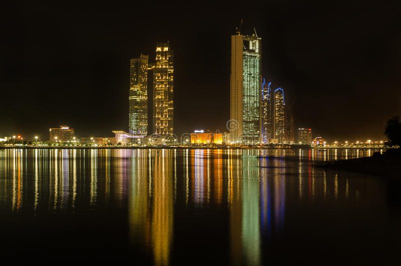 Abu Dhabi corniche skyline at night stock image