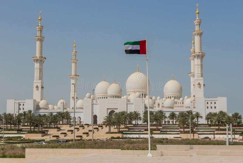 Abu Dhabi: den fantastiska Sheikh Zayed Mosque royaltyfri bild