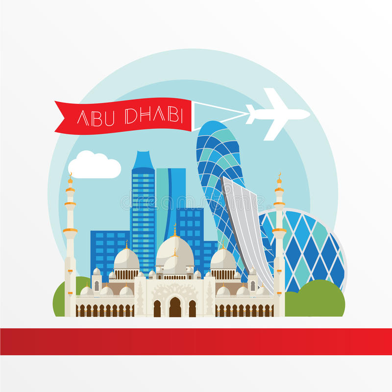 Abu Dhabi detalló la silueta Ejemplo de moda del vector, estilo plano Señales coloridas elegantes ilustración del vector