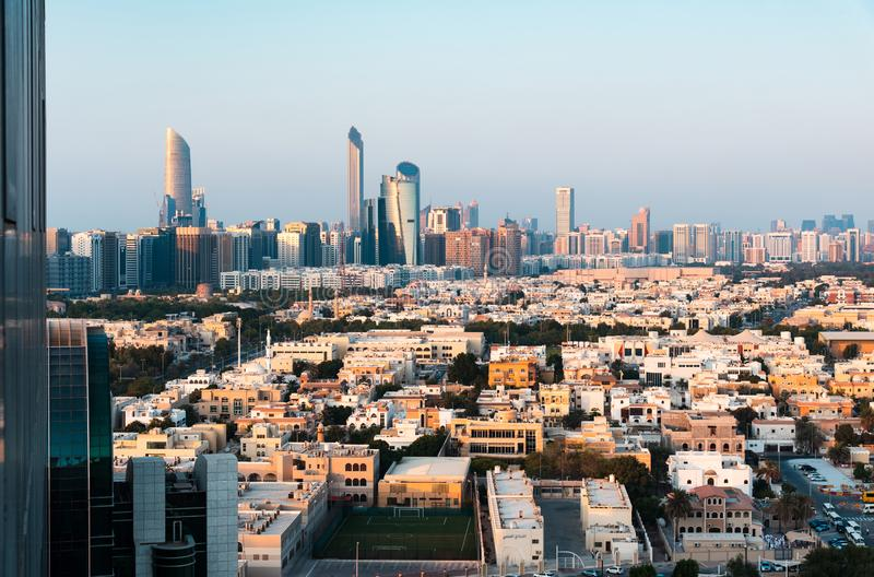 Abu Dhabi downtown view of the UAE modern capital city stock images