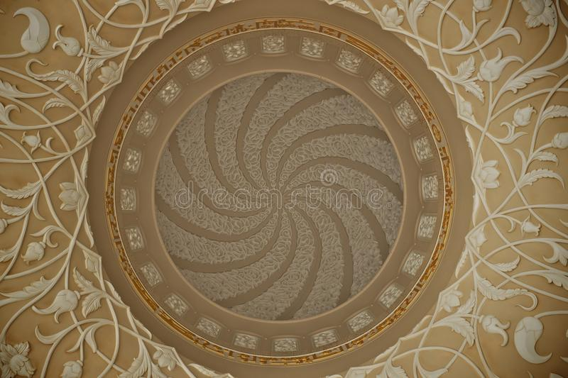 Abu dhabi grand mosque ceiling details stock images