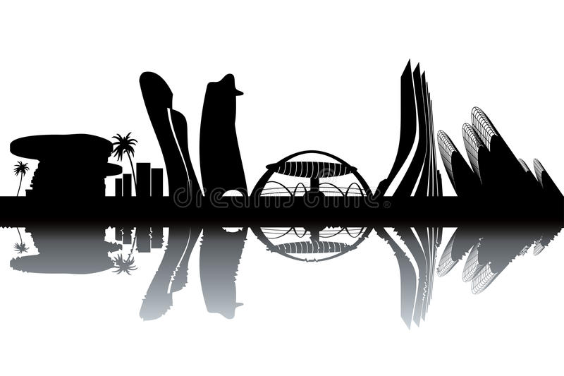Abu Dhabi horisont royaltyfri illustrationer