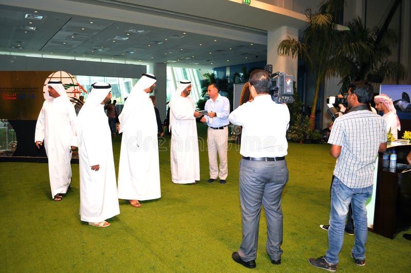 Abu Dhabi International Hunting and Equestrian Exhibition (ADIHEX) - Sheikh Visiting. Abu Dhabi International Hunting and Equestrian Exhibition (ADIHEX) 2013 in stock photography