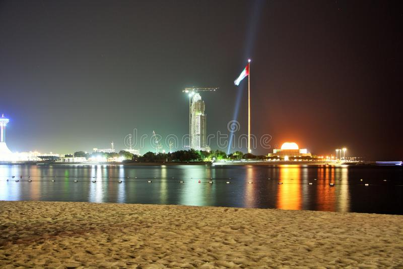 Abu Dhabi marina at night stock images