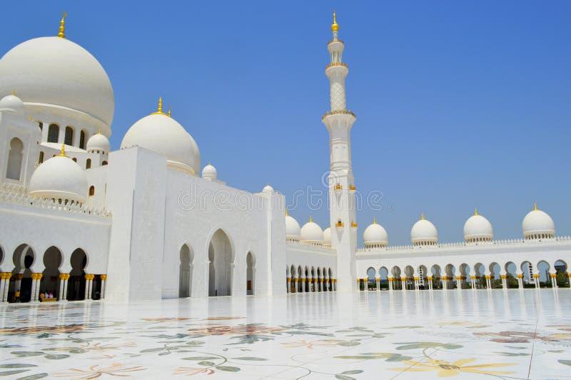 Abu Dhabi Mosque. Dubai. Asia. Peaceful and holy place. Grand mosque stock photo
