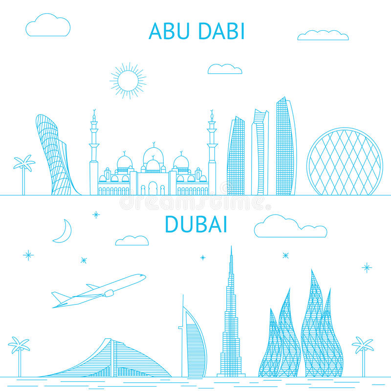 Abu Dhabi och Dubai horisontillustration i linjer royaltyfri illustrationer