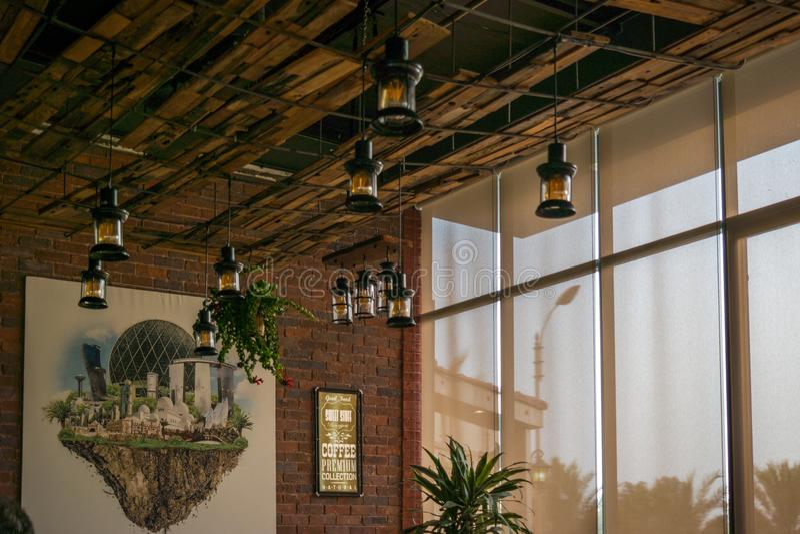 Abu Dhabi piękny wewnętrzny projekt restauracja z pięknym obrazem obrazy stock