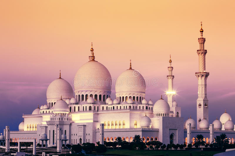 Abu Dhabi Sheikh Zayed Mosque at sunset stock image