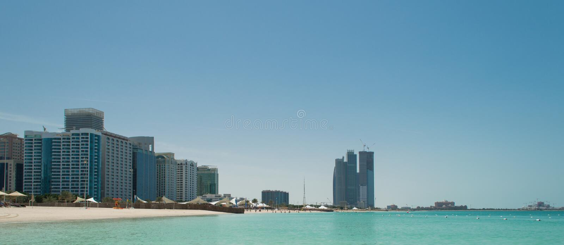 Abu Dhabi Skyline and Beach stock image