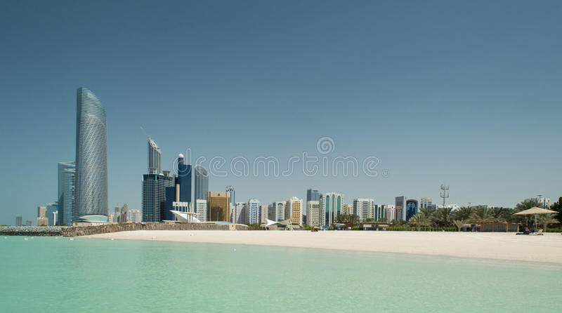 Abu Dhabi Skyline and Beach stock photo