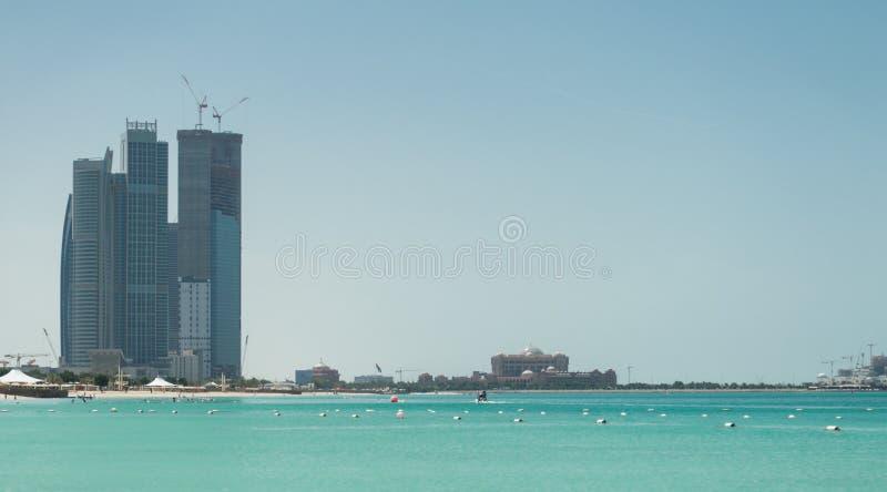 Abu Dhabi Skyline and Beach royalty free stock photos