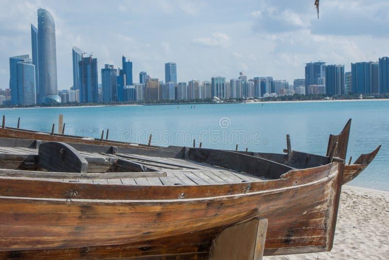 Abu Dhabi skyline from the Heritage Village, UAE stock image