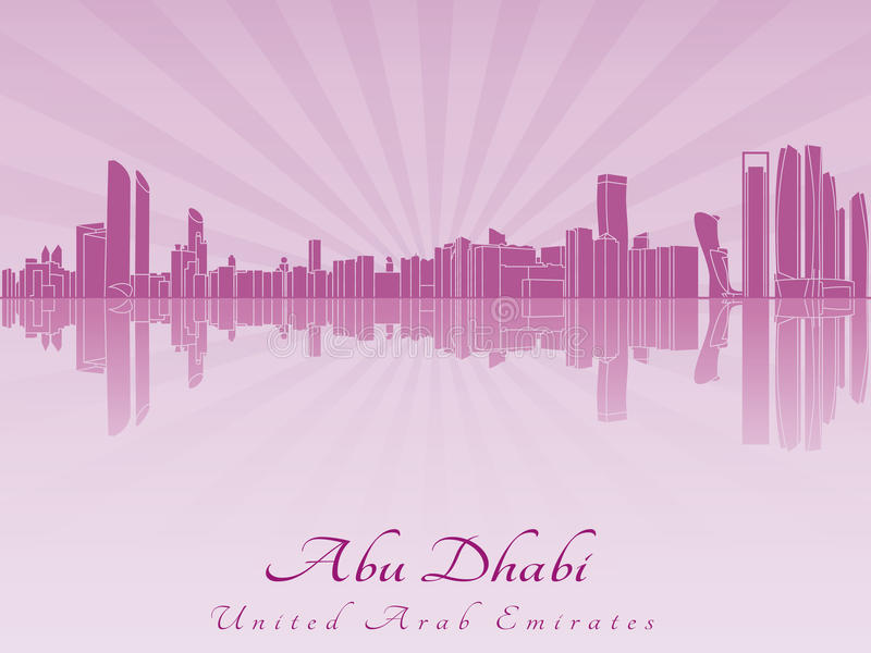 Abu Dhabi skyline in radiant orchid. In editable vector file royalty free illustration