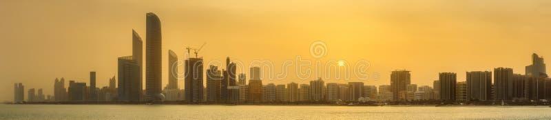 Abu Dhabi Skyline. View of Abu Dhabi Skyline at sunset, United Arab Emirates royalty free stock image