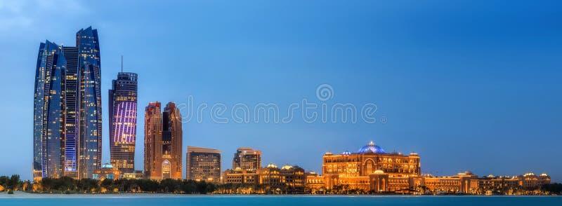 Abu Dhabi Skyline. View of Abu Dhabi Skyline at sunset, United Arab Emirates royalty free stock images
