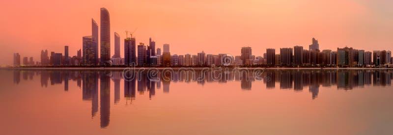 Abu Dhabi Skyline. View of Abu Dhabi Skyline at sunset, United Arab Emirates stock photos