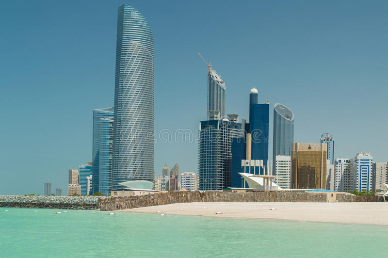 Abu Dhabi Skyline. Viewed from the sea royalty free stock photo